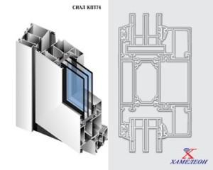 Теплые распашные алюминиевые двери КПТ 74
