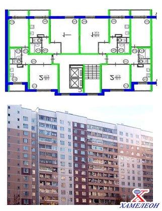 Окна дома п 46 - вид планировки и фасада